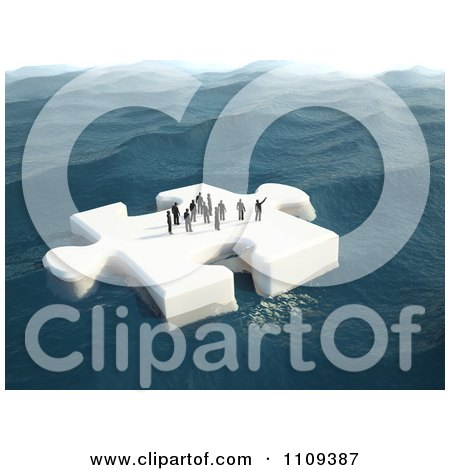 Clipart 3d Tiny People Floating On A Puzzle Piece Ice Floe - Royalty Free CGI Illustration by Mopic