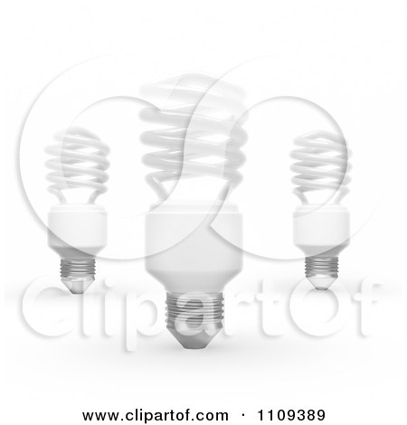 Clipart 3d White Fluorescent Spiral Light Bulbs - Royalty Free CGI Illustration by Mopic