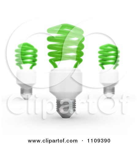 Clipart 3d Green Fluorescent Spiral Light Bulbs - Royalty Free CGI Illustration by Mopic