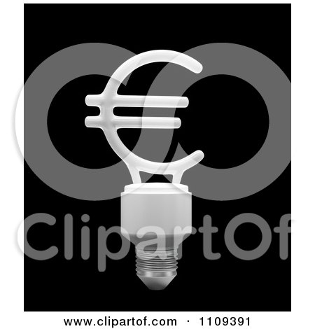 Clipart 3d Euro Shaped Flourescent Light Bulb - Royalty Free CGI Illustration by Mopic