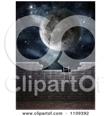 Clipart 3d Ladder Leaning Against A Brick Wall With A Moon And Starry Sky Above - Royalty Free CGI Illustration by Mopic