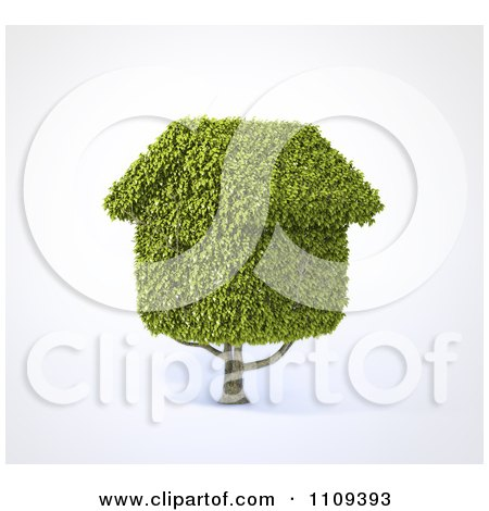 Clipart 3d Tree With House Shaped Foliage - Royalty Free CGI Illustration by Mopic