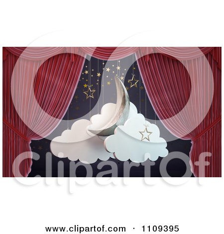 Clipart 3d Red Theater Curtains Revealing A Moon Stars And Clouds Stage Set - Royalty Free CGI Illustration by Mopic