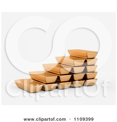 Clipart 3d Gold Bullion Bars Forming Steps - Royalty Free CGI Illustration by Mopic