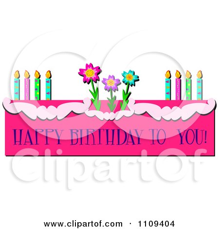 Clipart Happy Birthday To You Text On A Pink Cake With Candles And