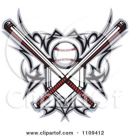 Clipart Tribal Baseball Home Plate With Crossed Bats And Ball Featuring The Sweet Spot - Royalty Free Vector Illustration by Chromaco