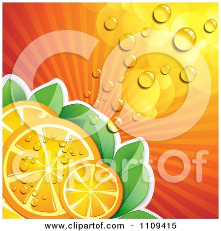 Clipart Background Of Juicy Orange Slices Over Rays And Leaves - Royalty Free Vector Illustration by merlinul