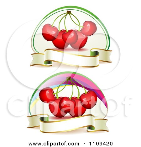 Clipart Bing Cherries With Blank Banners - Royalty Free Vector Illustration by merlinul