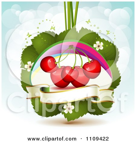 Clipart Bing Cherries On Leaves With Blossoms A Rainbow And Butterflies Over Blue With Flares - Royalty Free Vector Illustration by merlinul