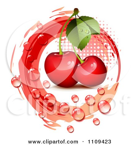 Clipart Bing Cherries With Droplets Halftone And A Red Circle - Royalty Free Vector Illustration by merlinul