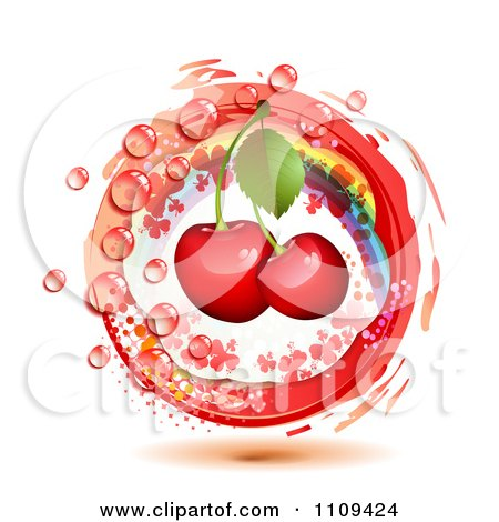 Clipart Bing Cherries With A Rainbow Droplets Halftone And A Red Circle - Royalty Free Vector Illustration by merlinul