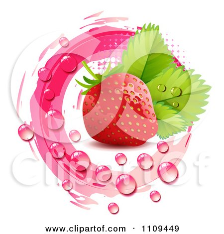 Clipart Fresh Strawberry And Droplets With Pink Halftone And Marks - Royalty Free Vector Illustration by merlinul