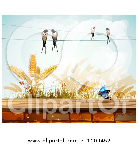 Clipart Butterfly Birds And Wheat Over A Brick Wall - Royalty Free Vector Illustration by merlinul