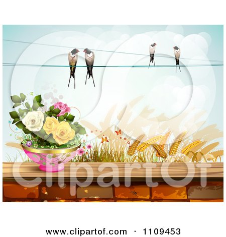 Clipart Birds On A Wire Over Wheat And Pottted Roses On A Brick Wall - Royalty Free Vector Illustration by merlinul