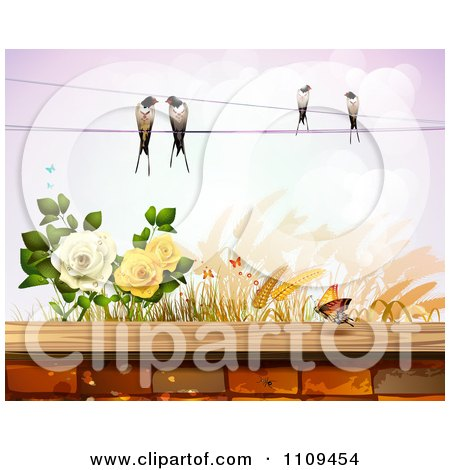 Clipart Birds On A Wire Over Roses Wheat And A Butterfly Over A Brick Wall - Royalty Free Vector Illustration by merlinul