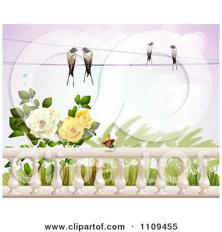 Clipart Birds On A Wire Over Roses Wheat And A Butterfly Over Columns - Royalty Free Vector Illustration by merlinul