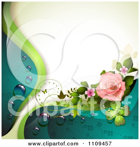 Clipart Pink Rose With Dew Clovers A Butterfly And Copyspace - Royalty Free Vector Illustration by merlinul