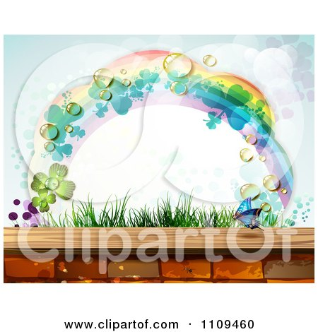 Clipart Rainbow Clover Butterfly Frame Arching Over Grass And Bricks - Royalty Free Vector Illustration by merlinul
