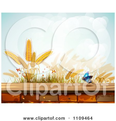 Clipart Butterfly And Wheat Over A Brick Wall - Royalty Free Vector Illustration by merlinul