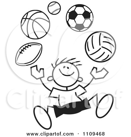 Clipart Black And White Sticker Boy Juggling Balls - Royalty Free Vector Illustration by Johnny Sajem