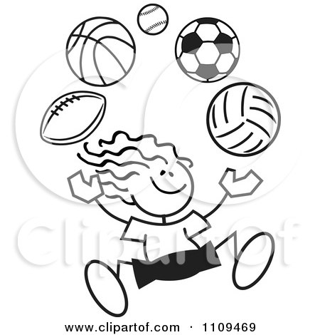 Clipart Black And White Sticker Girl Juggling Balls - Royalty Free Vector Illustration by Johnny Sajem