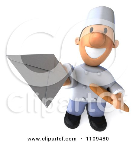 Clipart 3d Chef Holding Out An Envelope - Royalty Free CGI Illustration by Julos