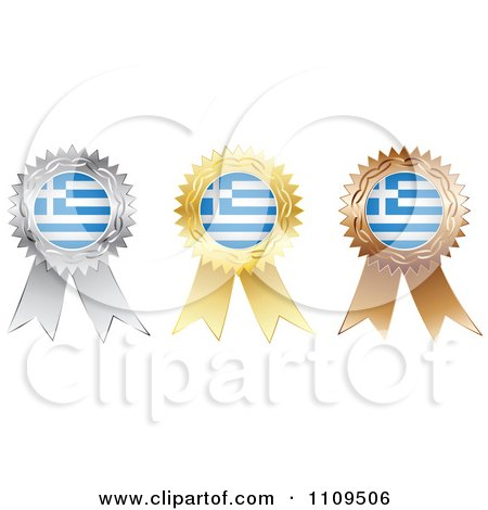 Clipart Silver Gold And Bronze Greek Flag Medals - Royalty Free Vector Illustration by Andrei Marincas