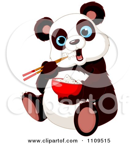 Clipart Cute Hungry Panda Eating Rice With Chopsticks - Royalty Free Vector Illustration by Pushkin