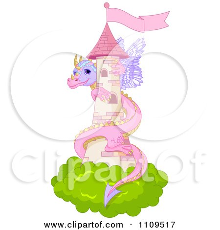 Clipart Cute Pink Dragon Guarding A Pink Fairy Tale Castle Tower - Royalty Free Vector Illustration by Pushkin