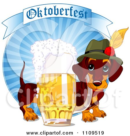 Clipart German Daschund Dog With A Pint Of Beer And Oktoberfest Banner On Blue Rays - Royalty Free Vector Illustration by Pushkin