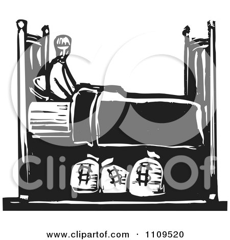 Man With Money Sacks Under His Bed Black And White Woodcut by xunantunich