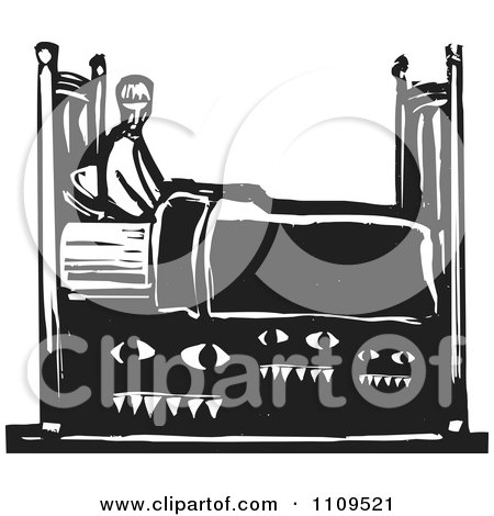 Clipart Man With Monsters Under His Bed Black And White Woodcut - Royalty Free Vector Illustration by xunantunich