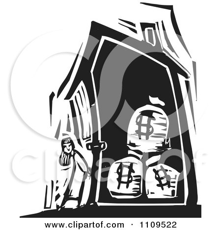 Clipart Girl Standing Outside A House With Money Bags Black And White Woodcut - Royalty Free Vector Illustration by xunantunich