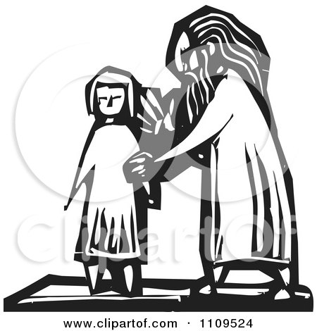 Clipart Old Man And Young Girl Black And White Woodcut - Royalty Free Vector Illustration by xunantunich