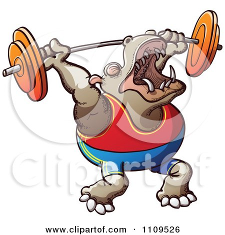 Clipart Strong Bodybuilder Hippo Weight Lifting - Royalty Free Vector Illustration by Zooco
