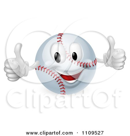 Clipart 3d Happy Baseball Mascot Holding Two Thumbs Up - Royalty Free Vector Illustration by AtStockIllustration
