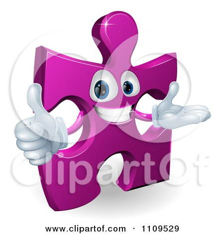 Clipart Happy Purple Jigsaw Puzzle Piece Mascot Holding A Thumb Up - Royalty Free Vector Illustration by AtStockIllustration