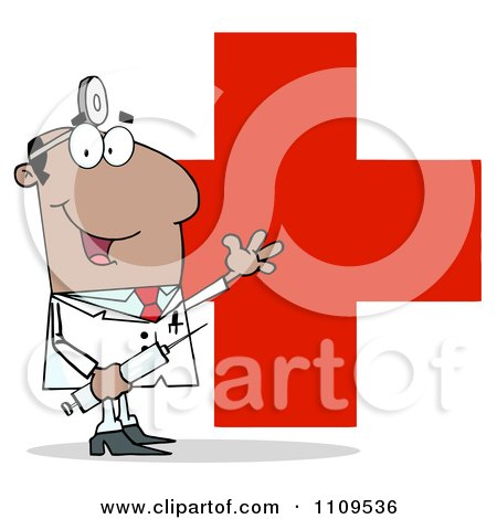Clipart Happy Black Male Doctor Holding A Syringe And Waving Over A Red Cross - Royalty Free Vector Illustration by Hit Toon