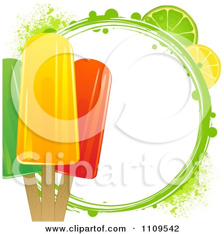 Clipart Fruit Popsicles With Citrus Slices And A Green Grunge Circle - Royalty Free Vector Illustration by elaineitalia