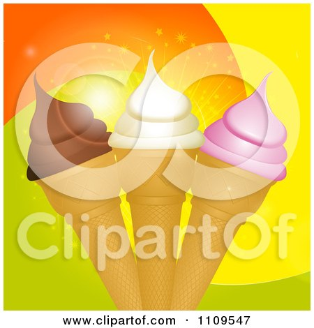 Clipart Strawberry Vanilla And Chocolate Ice Cream Cones Over Swirls - Royalty Free Vector Illustration by elaineitalia