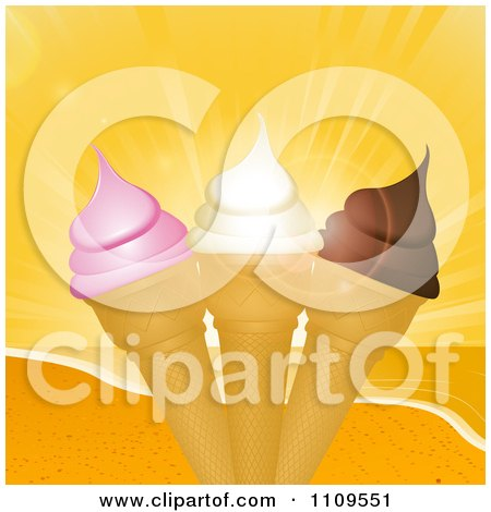 Clipart Strawberry Vanilla And Chocolate Ice Cream Cones And A Beach Sunset - Royalty Free Vector Illustration by elaineitalia