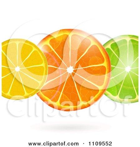 Clipart Flares Over Lemon Orange And Lime Slices - Royalty Free Vector Illustration by elaineitalia