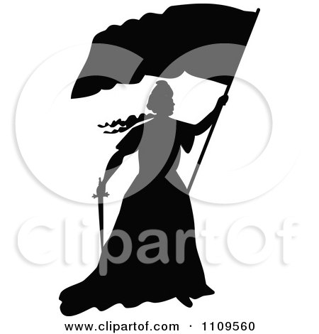 Clipart Silhouetted Lady Liberty Holding A Flag And Sword - Royalty Free Vector Illustration by Prawny Vintage