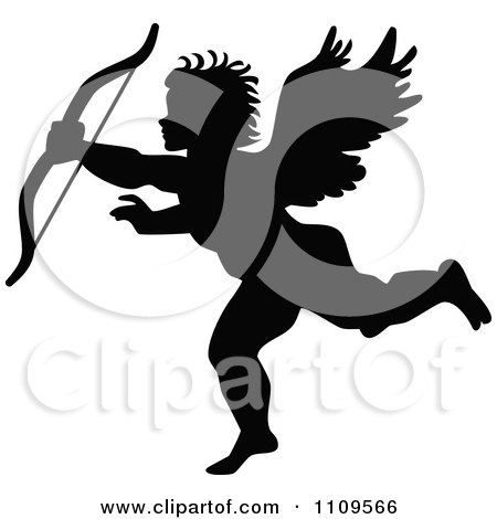 Clipart Silhouetted Cupid With Bow - Royalty Free Vector Illustration by Prawny Vintage