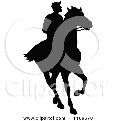 Clipart Silhouetted Jockey On A Horse - Royalty Free Vector Illustration by Prawny Vintage