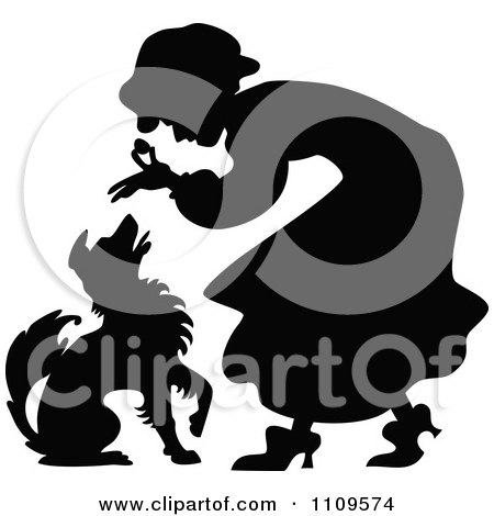 Silhouetted Old Lady Giving A Dog A Treat Posters, Art Prints
