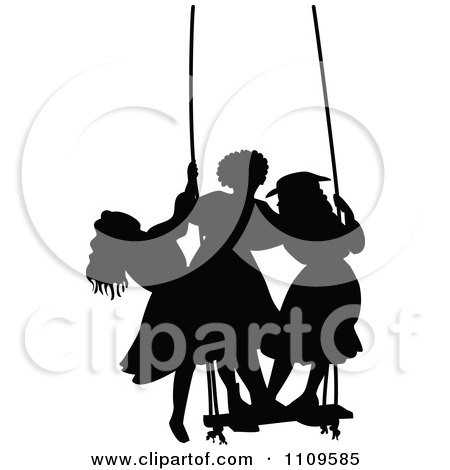 Clipart Silhouetted Girls Standing On A Swing - Royalty Free Vector Illustration by Prawny Vintage