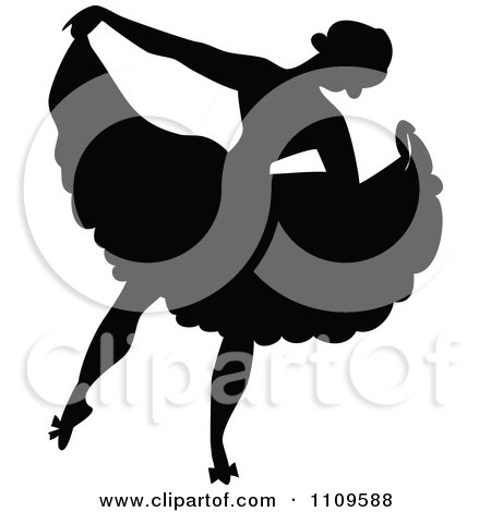 Clipart Silhouetted Ballerina Dancing 2 - Royalty Free Vector Illustration by Prawny Vintage