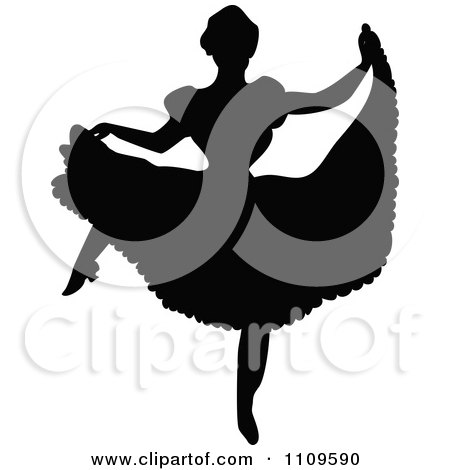 Clipart Silhouetted Ballerina Dancing 4 - Royalty Free Vector Illustration by Prawny Vintage
