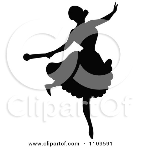 Clipart Silhouetted Ballerina Dancing 5 - Royalty Free Vector Illustration by Prawny Vintage